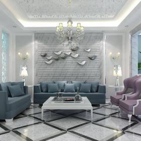 歐式新古典客廳背景墻案例展示效果圖