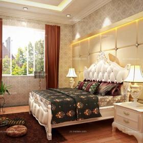 黄色背景墙110㎡黄色欧式田园风格卧室设计舒适感极强效果图欣赏