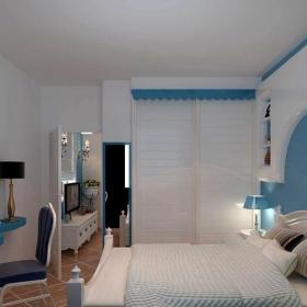 地中海風格一居室臥室床裝修圖片效果圖
