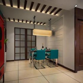中式风格三居室餐厅酒柜装修效果图欣赏
