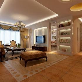 茶幾背景墻沙發茶幾【古典歐式客廳設計】客廳效果圖