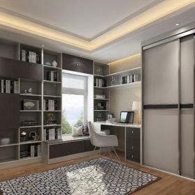 現代簡約三居室書房飄窗裝修效果圖大全