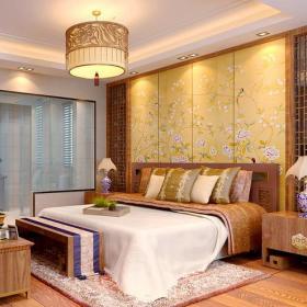 雙人床板式家具原木家具床頭背景墻吊燈床頭燈家具床頭柜201㎡四居新中式風格臥室背景墻裝修效果圖新中式