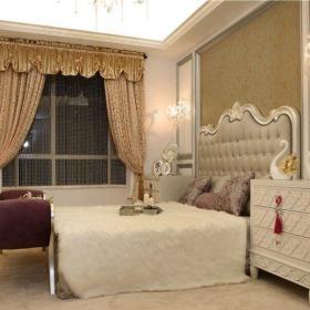 简欧风格三居室卧室窗帘装修效果图大全