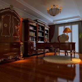 300平欧式古典风格别墅书房吊顶装修效果图欧式古典风格红木欧式书柜图片