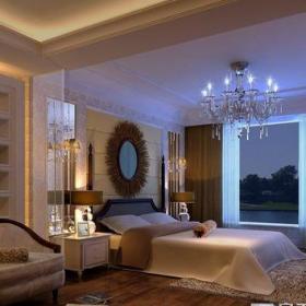 简欧风格复式卧室窗帘装修效果图大全