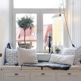 白色抱枕單身公寓90㎡舒適簡潔的北歐風格飄窗效果圖