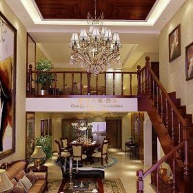 欧式古典复式客厅背景墙装修效果图欣赏