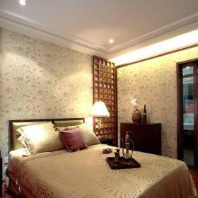 中式古典二居室卧室床装修图片效果图