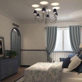 地中海风格三居室卧室照片墙装修效果图欣赏