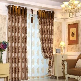 三居室咖啡色欧式古典卧室窗帘效果图