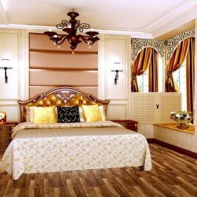 床头背景墙软包背景墙吊灯两室两厅飘窗窗帘简欧风格卧室背景墙装修效果图简欧风格床头柜图片