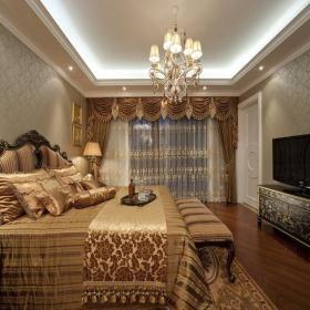 双人床吊灯卧室家具104㎡两居室欧式古典风格卧室窗帘装修图片欧式古典风格储物柜图片装修效果图