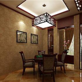 中式古典別墅餐廳背景墻裝修效果圖欣賞