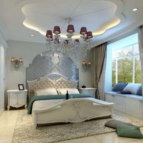 简欧风格三居室卧室窗帘装修图片效果图