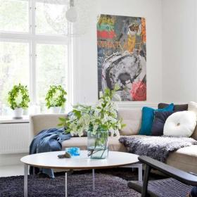 白色客廳沙發茶幾北歐一居裝飾效果圖