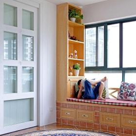 宜家歐式飄窗前繡花地毯圖片效果圖