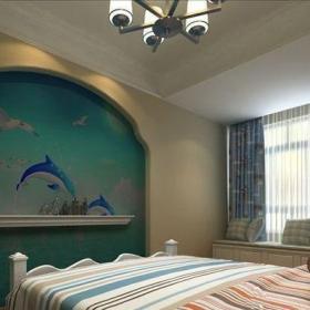 地中海風格三居室臥室背景墻裝修效果圖