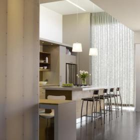 宜家風格三層連體別墅藝術開放式廚房客廳設計圖效果圖