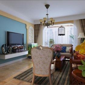地中海風格三居室客廳背景墻裝修效果圖