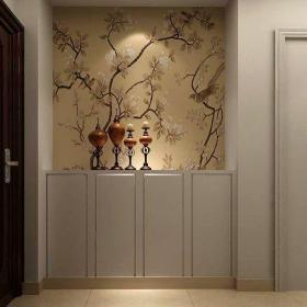 简欧风格三居室玄关储物柜装修效果图欣赏