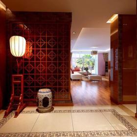 家居摆件椅凳隔断124㎡三居室新中式风格过道装修效果图新中式风格落地灯图片