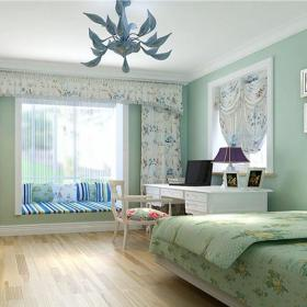 田園風格三居室臥室壁紙裝修效果圖