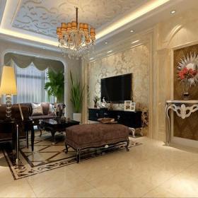 歐式古典風格客廳電視背景墻裝修效果圖歐式古典風格吊頂圖片