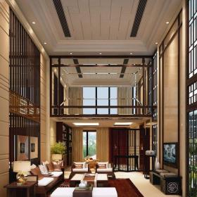 新中式風格復式客廳裝修效果圖