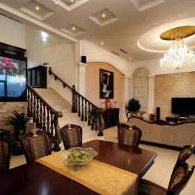 电视背景墙欧式吊顶楼梯客厅实拍图效果图欣赏