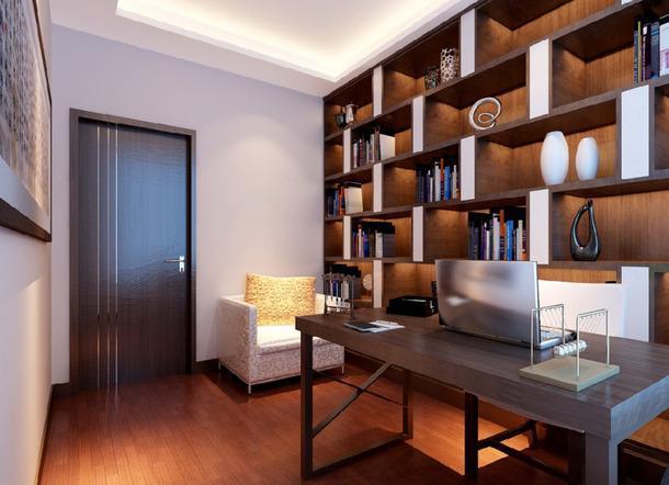 三室两厅两卫书柜三居大户型三室两厅130平米新中式风格书房吊顶装修效果图三室两厅130平米新中式风格