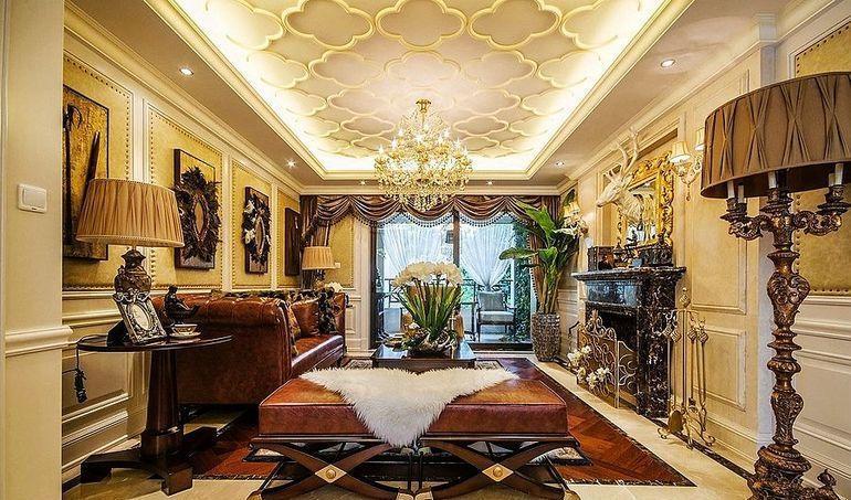 欧式古典风格四居室客厅吊顶装修效果图