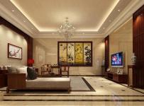 電視背景墻客廳中式風格別墅起居室吊頂裝修效果圖