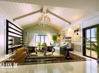 电视背景墙别墅客厅吊顶欧式风格起居室效果图
