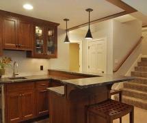 2018现代风格三居室开放式厨房吧台装修效果图片