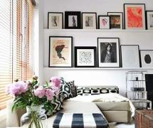 樣板房時尚90平米精裝起居室背景墻裝飾畫效果圖