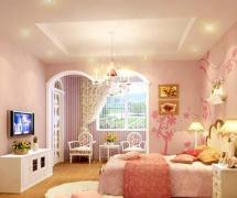 臥室臥室背景墻小臥室粉色起居室圖效果圖