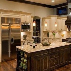 简约欧式风格厨房橱柜装修效果图 大理石吧台图片