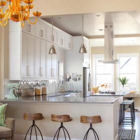 吧台110㎡灯饰三居橱柜精湛的现代艺术厨房设计效果图大全