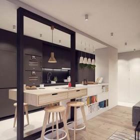 現代簡約一居室餐廳吧臺裝修圖片效果圖