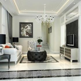 客厅电视背景墙新古典二楼起居室效果图