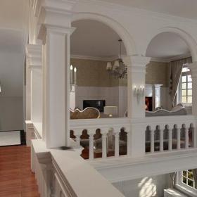 壁灯英伦风格二层起居室过道装修效果图