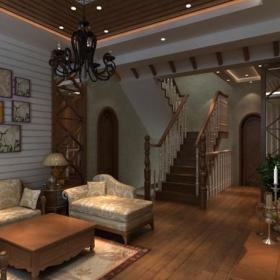 客厅吊顶楼梯美式风格起居室效果图