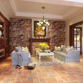 吊顶美式乡村风格起居室实拍装修效果图