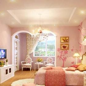 卧室卧室背景墙小卧室粉色起居室图效果图