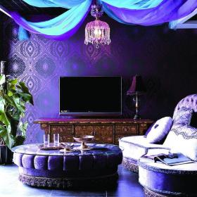 别墅紫色休闲娱乐间东南亚风格起居室装修图片效果图大全