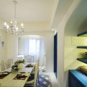 地中海风格二居室餐厅吧台装修效果图