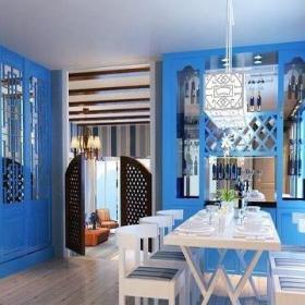 90平地中海風格婚房餐廳飄窗裝修圖片起居室裝修效果圖