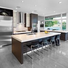 新房灯具椅灯具现代简约风格开放式厨房吧台装修图片效果图欣赏