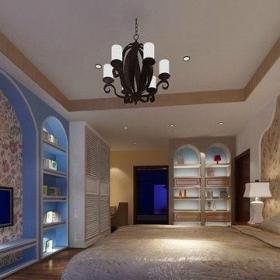 90平地中海风格婚房卧室吊顶背景墙装修图片起居室效果图